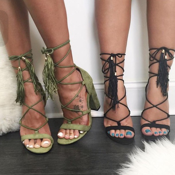 shoes, lace up heels, high heel sandals