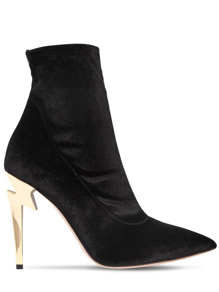 GIUSEPPE ZANOTTI DESIGN 105mm Stretch Velvet Ankle Boots in black