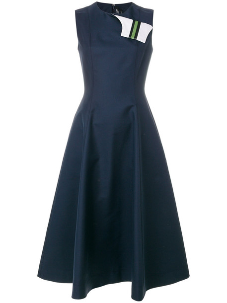 CALVIN KLEIN 205W39NYC dress women cotton blue silk