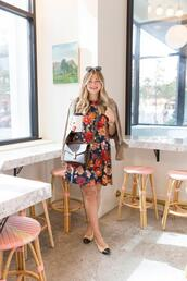 suburban faux-pas,blogger,jacket,dress,bag,shoes,ysl bag,ballet flats,floral dress,suede jacket