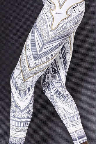 pants nike running tights leggings aztec leggings tights white pattern joggers hot cute