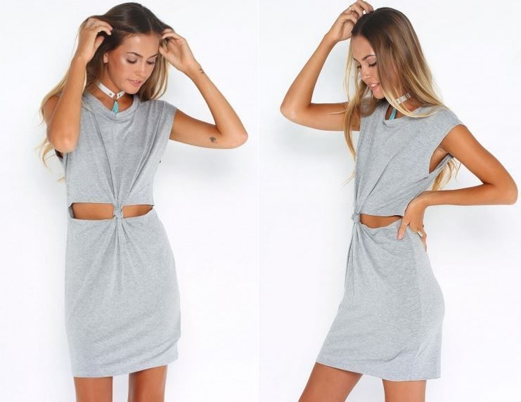 New Ladies Sexy Summer Short Sleeve Cut Out Knot Casual Bodycon T Shirt Dress
