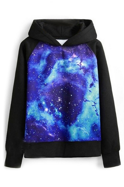 ROMWE | ROMWE Galaxy Print Hooded Long Sleeves Blue Sweatshirt, The Latest Street Fashion