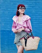 skirt,tumblr,gingham,ruffle,mini skirt,bag,woven bag,shirt,pink shirt,sunglasses,round sunglasses,gingham skirt,wrap ruffle skirt
