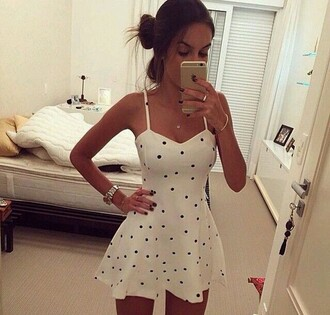 dress polka dot skater dress spaghetti straps dress