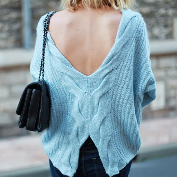 Luxurious Backless Oversize Sweater In Light Blue | Choies
