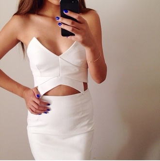 dress white dress white cut out bodycon dress cut-out dress short dress sleeveless boobtube t-shirt