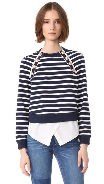 Derek Lam 10 Crosby Sweatshirt With Buttons - Midnight/Ivory
