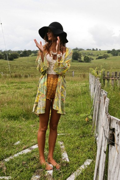 shorts high waisted short hat floppy hat jacket singlet hippie boho bohemian sweater kimono robe yellow shorts tank top