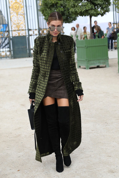 b55dd588f760 coat dress olive green hailey baldwin model off-duty fall outfits over the knee  boots