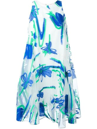 dress women jacquard floral cotton blue silk
