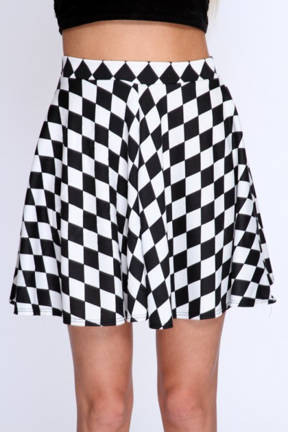 Black Checker Print Skater Skirt