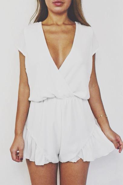 75c632c422c blouse romper white cute summer jumpsuit onesie low cut dress pretty flowy  ruffle criss cross clothes
