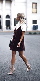 dress,tumblr,velvet slip dress,velvet,velvet dress,mini dress,burgundy,burgundy dress,dress over t-shirt,t-shirt,white t-shirt,boots,clear boots,high heels,high heels boots,pointed boots,ankle boots,fall outfits,slip dress,pointed toe boots