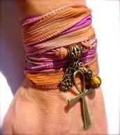 jewels,bracelets,wrap bracelet,silk wrap,ankh