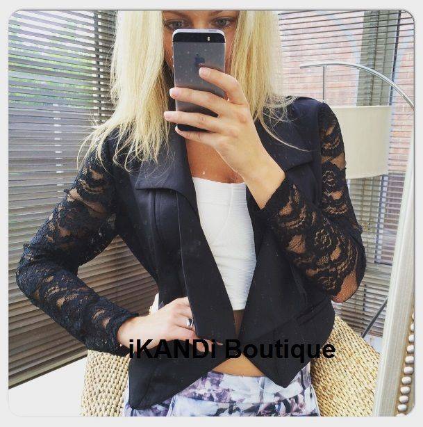 New Work Party Black Lace Crochet Long Sleeve Waterfall Open Front Blazer Jacket