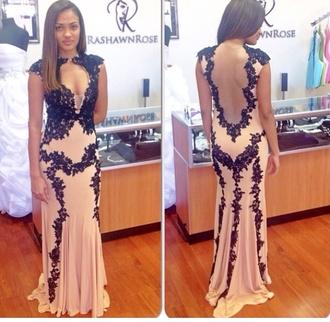 prom dress cream high heels lace dress lace up homecoming dress black nude mermaid prom dress long prom dress