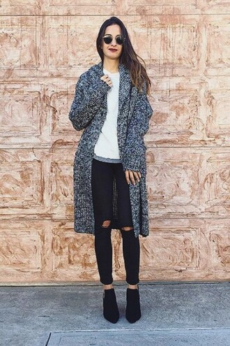 cardigan coat lookbook blogger grey ripped jeans streetstyle thanksgiving warm zaful black ripped jeans long cardigan grey cardigan style
