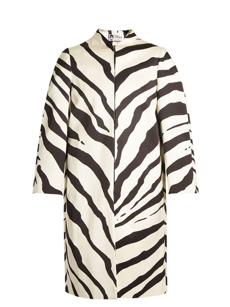lanvin coat zebra cotton print white black
