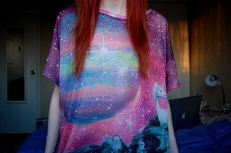 blue t-shirt pink t-shirt galaxy print top unicorn purple t-shirt shirt pastel grunge unicorn shirt