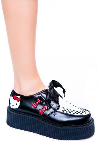 shoes cute black red hello kitty fashion high platform sneakers kicks