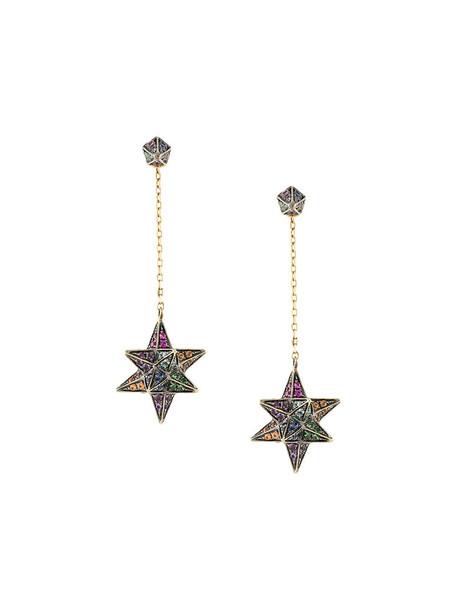 Noor Fares rainbow women earrings gold yellow grey metallic jewels