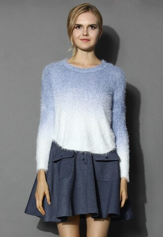 chicwish fashion and chic super soft mohair sweater blue ombre sweater