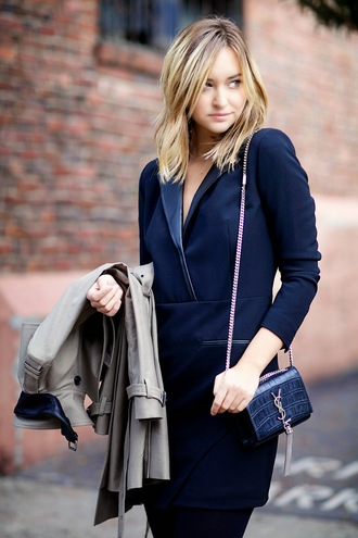 late afternoon blogger dress classy mini bag navy trench coat coat tights shoes bag