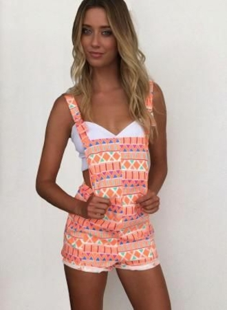 peach colorful aztec overall shorts