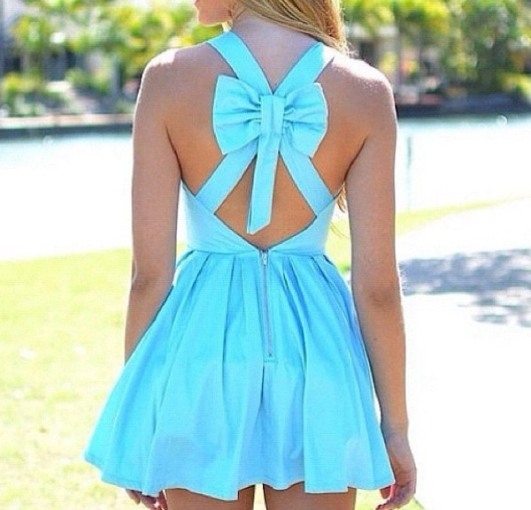 dress aqua bow turquoise cut-out cross back blue dress prom dress bun beautiful awesomness short dress bright summer dress cute dress blouse girly summet girly outfits tumblr