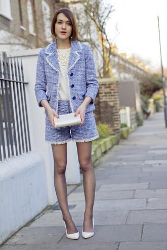 la petite anglaise blogger shorts tailoring blue jacket kate spade