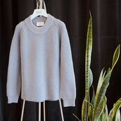 sweater,baby blue sweater,blue chunky sweater,siizu,blue sweater,crewneck sweater,chunky sweater