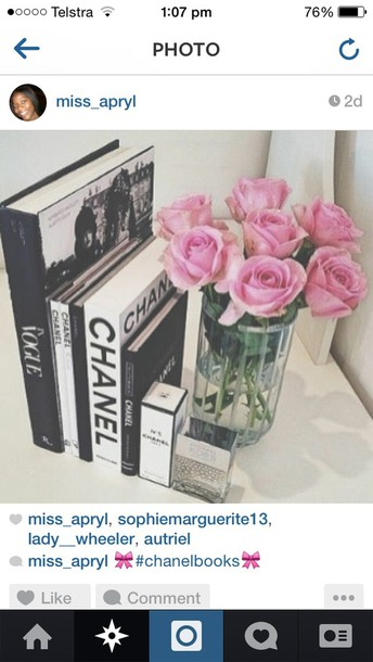 chanel book girly flowers home accessory home decor