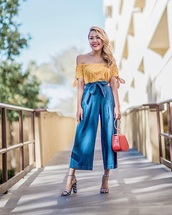 pants,cropped jeans,culottes,denim culottes,top,spring outfits,denim,off the shoulder top,off the shoulder,yellow top,sandals,sandal heels