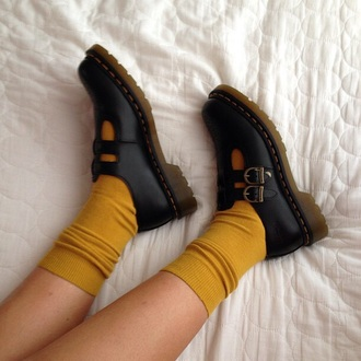 shoes black black shoes buckles rubber shoes mustard socks