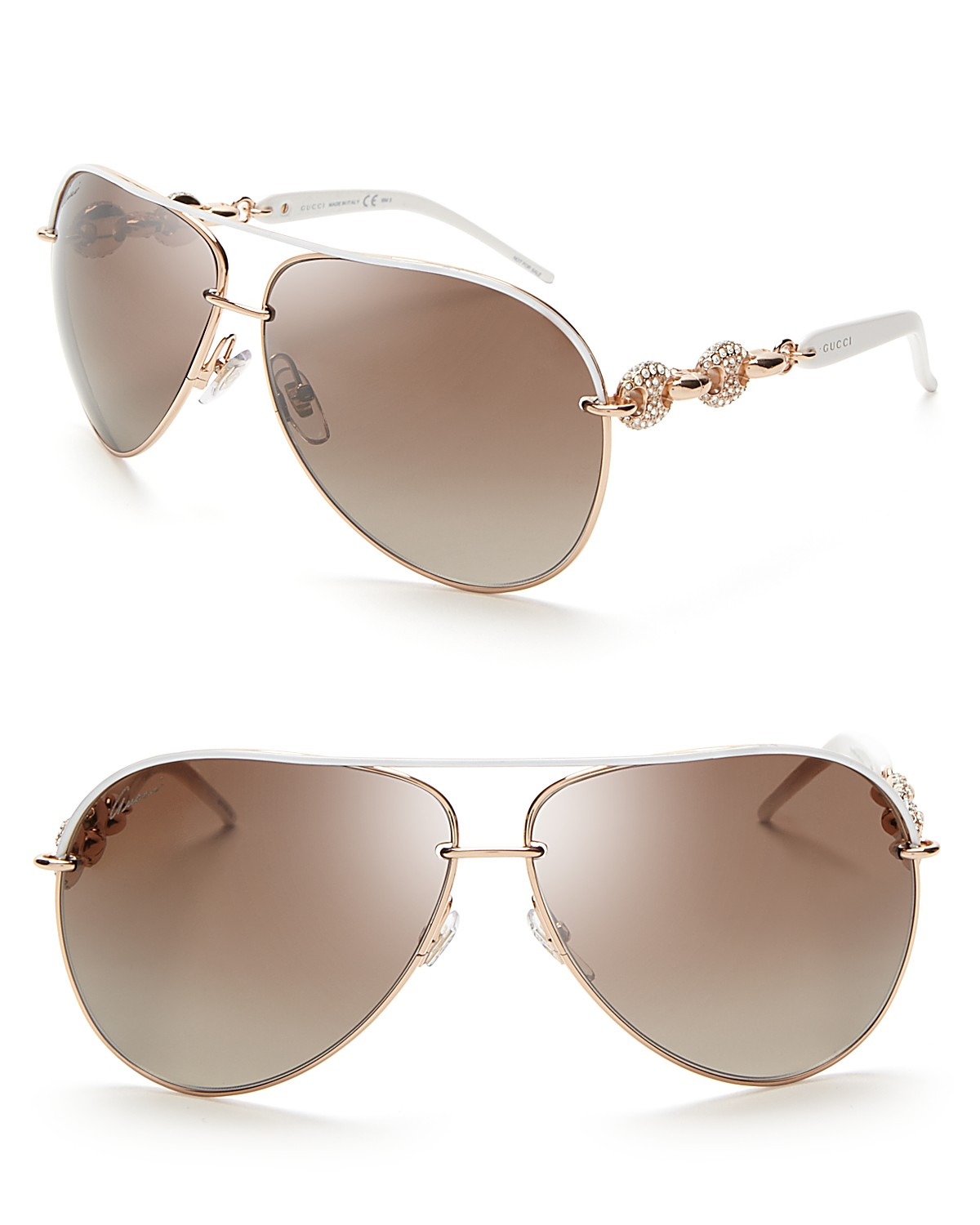 Gucci Chain Link Aviator Sunglasses with Crystals | Bloomingdale's