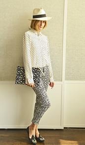 pants,olivia palermo,shirt,blouse