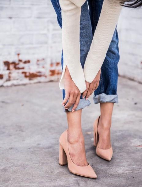 shoes nude heels block heels thick heel fall accessories slit sweater beige sweater