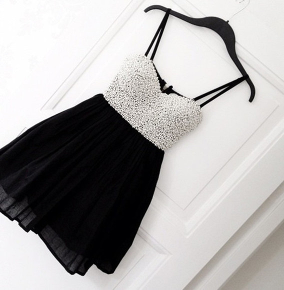 pearls prom dress little black straps spaghetti sweetheart short homecoming homecoming dress homecoming dresses new arrivals party dress evening dress custom dress zipper back dress zipper backpack