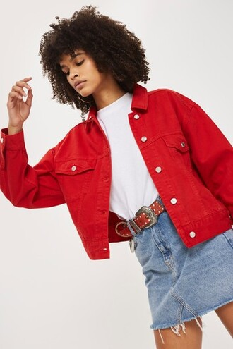 jacket denim jacket oversized denim jacket denim oversized red