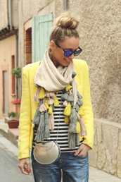 my showroom,sweater,jeans,jacket,scarf,sunglasses,yellow,fall outfits,cardigan,brown