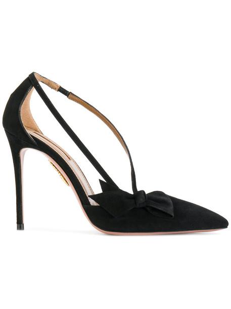 Aquazzura women pumps leather black shoes