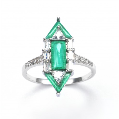 Deco Emerald City ring