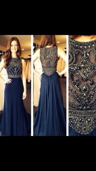 dress boho dress prom dress embroidered lace dress navy blue dress