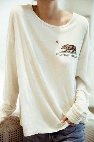 shirt white bear republic california