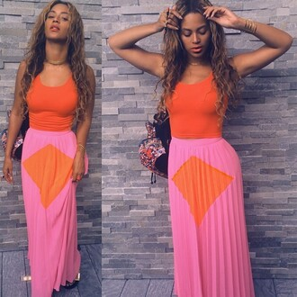 skirt beyoncé maxi skirt bag tank top topshop