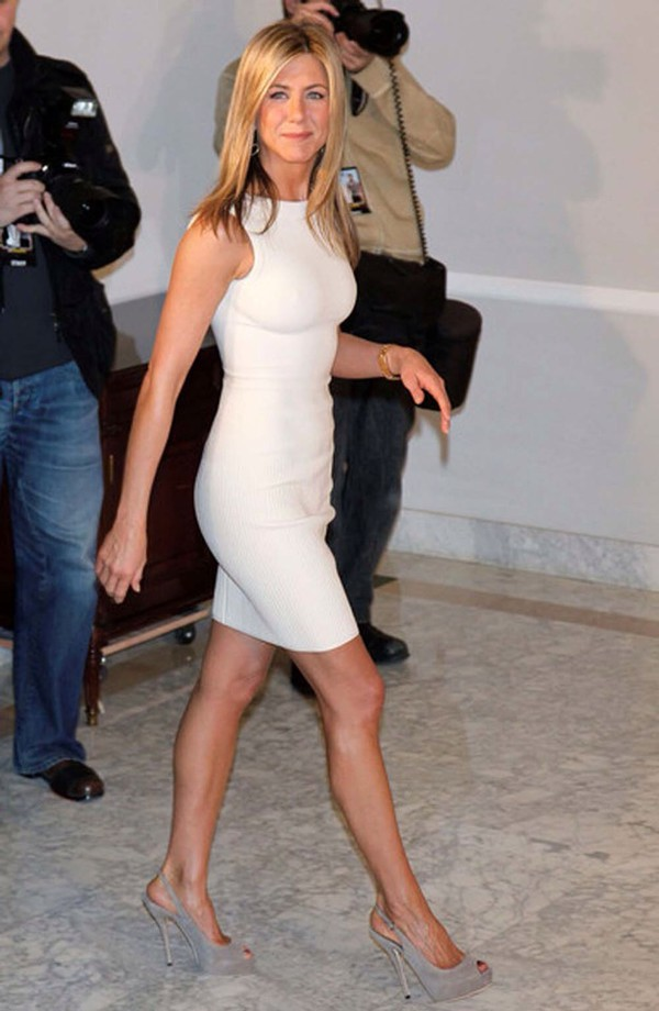 white dress jennifer aniston elegant dress bodycon dress shoes