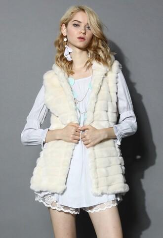 chicwish faux fur vest hooded coat