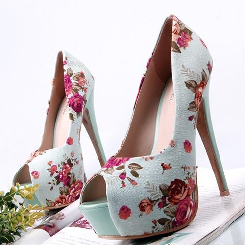 37503#4 colors lady platform peeptoe canvas floral high heels