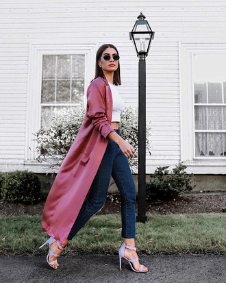 coat pink coat long coat denim jeans blue jeans sandals sandal heels high heel sandals top white top white crop tops crop tops sunglasses